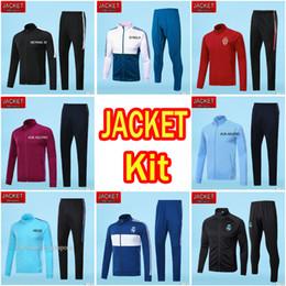 Wholesale Tracksuits Men Soccer - Best Quality Real Madrid RONALDO Soccer Jacket Kits MESSI DBYBALA HAZARD Tracksuit 2017 2018 NEYMAR JR 17 18 KUN AGUERO Alexis Football Sets