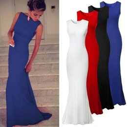 Wholesale Draped Jersey Dress - 2017 Bodice Jersey Casual Mermaid Women Dresses 3 Colors Summer Party Gown Royal Blue Maxi Causal Party Dress Runway Evening Gowns OXL989