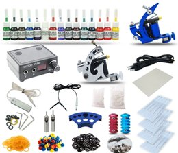 Wholesale Tattoo Inks Prices - Good Quality Best Price Free Shipping USA Complete Tattoo Kit 2 machine Gun 15 Color Inks Power Supply TK-22