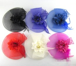 Wholesale Fascinator Birdcage Black Veil - Best Selling Colorful Bridal Birdcage Hats Veil Comb Blusher Flowers Feather Hats For Wedding Evening Party In Stock Free Shipping 2017
