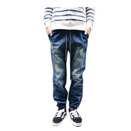Wholesale Boys Clothes Size Jeans - Wholesale-blue mens destroyed ripped biker jogger jeans man hiphop boy skate pants 2016 new arrival trousers rock cool clothes clothing