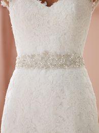 Wholesale Bridal Crystal Sash Belt Flower - 2016 Free Shipping New Wedding Bridal Sashes Crystal Belts Beaded Rhinestone Belts Fashion Bridal Accessories New Arrival