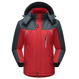 Wholesale Fall Clothing For Women - Fall-Men Winter Jackets 2016 Hooded Patchwork Velvet Thicken Warm Down Jacket Windproof Climbing Outdoors Clothing Wear For Women 5XL