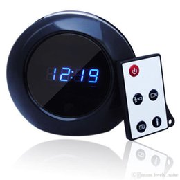 Wholesale Mirror Spy Hidden Cameras - Mini Spy Clock Camera 720P HD Lens Hide Behide Mirror Alarm Round Clock DVR Spy Camera PC Cam Remote Control sensing distance 6m