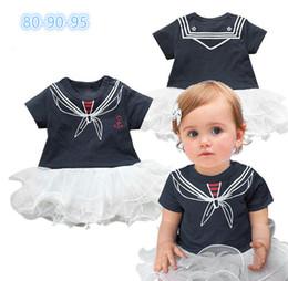 Wholesale Baby Bodysuits Short Sleeve - 12Pcs Newborn Baby Girls Navy Style Rompers+Hat 2Pcs Set Children Short-Sleeve Sailor Bodysuits Infants Jumpsuit Clothing Suit