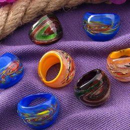 Wholesale Silver Murano Rings - Free Shipping Wholesale Hot 24Pcs 17-19mm Net Silver Foil Lampwork Glass Murano Rings,New Fashion Women Murano Finger Rings