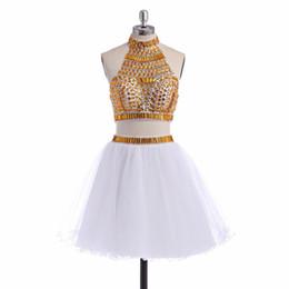 Argentina Cuadros verdaderos Cristal blanco dorado vestidos de fiesta cortos Vestidos de fiesta Dos piezas Vestidos de fiesta vestidos curtos Suministro