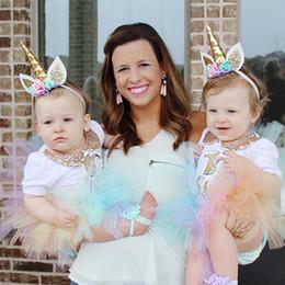 Wholesale Wholesale Red Glitter Headband - Baby Headbands Girls Flower Sparkle Unicorn Party Hairbands kids Glitter hair accessories princess Birthday photography Headbands 6Colors