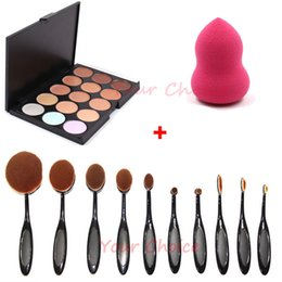 Wholesale Christmas Toothbrush - 15 Color Contour Face Cream Makeup Concealer Palette + 10Pcs Beauty Oval Toothbrush Shaped Foundation Power Makeup Brushes + 1pc Sponge Puff