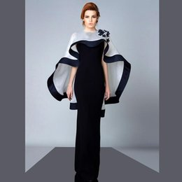 Wholesale Sexy Middle East Black Applique - 2016 Black Sheath Evening Dresses with Wrap Crew Neck Applique Floor Length Middle East Evening Gowns