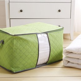 Wholesale Bamboo Blankets Wholesale - 60*42*36Cm Bamboo Cotton Quilt Bags Large Size Non Woven Fabrics Blanket Storage Bag Zipper Bag Case Container Organizer Mixed Color