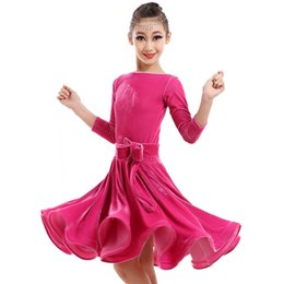 Wholesale Latin Samba Dance Wear - Sexy Ballroom Dance Dresses Kids Latin Dance Dress For Girls Flamenco Dress Dance Wear Samba Costumetango Indian Clothes Q4051