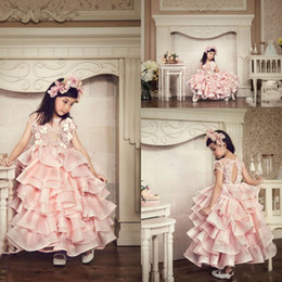 Wholesale Baby Girls Wedding Formal Dress - Beautiful Pink Organza Tiered Girls Pageant Gowns Applique Short Sleeve Ball Gown Flower Girl Dresses For Wedding Backless Baby Formal Wear