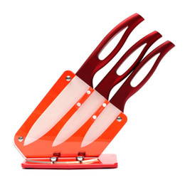 Wholesale Red Kitchen Tools Set - New Arrival Ceramic Knife Set 3 4 5 inch With Acrylic Knife Holder Stand Kitchen Knives Cooking Tools Beauty Gift Red Handle