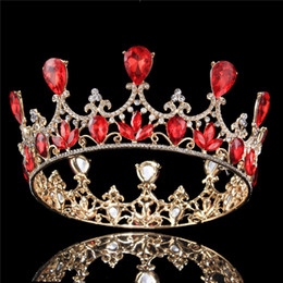 Wholesale Beauty Pageant Tiaras - 2 1 2 inch Height Queen Tiaras Full Crown Gold and Silver Plated AB  Ruby Teardrop Rhinestone Princess Beauty Pageant Wedding Hair Crown