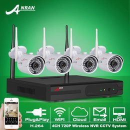 Wholesale Wireless Ip Surveillance Cameras Outdoor - ANRAN Plug And Play 4CH CCTV System Wireless NVR Kit P2P 720P IP Camera WIFI HD IR Outdoor Waterproof Security Surveillance System