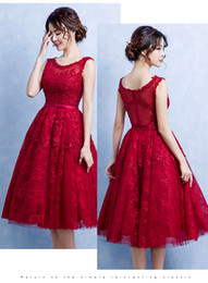 Wholesale Sexy Red Wine - 2017 Red Wine Lace Evening Dresses A Line Scoop Neck Appliques Tea Length Beaded Formal Party Prom Gowns Cheap