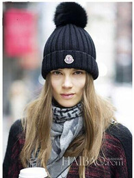 Wholesale Girls Derby Hat - Fashion women spring autumn winter beanies outdoor hats faux fur pom-pom ski gorro girls skull caps
