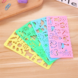 Wholesale old rulers - Hot sale Creative child puzzle ruler Cute cartoon DIY painting ruler Multi function children toy IA967