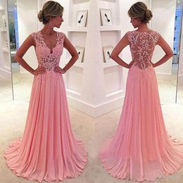 Wholesale See Through Bodice Evening Gown - 2016 Illusion Bodice Prom Dresses Long V Neck Lace Appliques Top Pink Chiffon Evening Party Wear Cheap High Quality Formal Gowns See Through