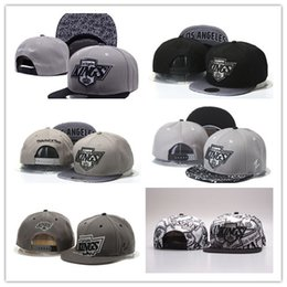 Wholesale Hockey Team Hats - Good Selling Men's Los Angeles Kings Snapback Hat Team Logo Embroidery Sports Adjustable LA Hockey Caps Vintage Leather Visor Strap back Hat