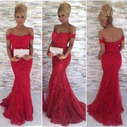 Wholesale Red Off Shoulder Short Dresses - 2017 Sexy Red Lace Mermaid Prom Dresses Sweetheart Off Shoulder Short Sleeves Backless Long Evening Gowns Formal Gowns With Appliques