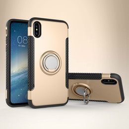 Wholesale Ring Backs - Hybrid TPU+PC 2-in-1 Armor Case For Iphone X Shock-Proof Cases 360 Ring Stand Holder Magnetic Back Cover For Samsung S8 Plus Huawei P10