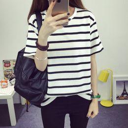 Wholesale Roupa Korean - Wholesale- 2017 korean striped fashion roupa feminina tee shirt femme clothes for women female tumblr poleras camisetas mujer t-shirts