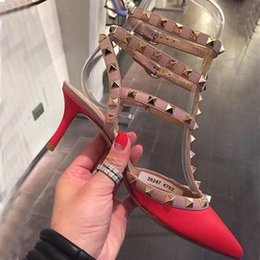 Wholesale Black Pink Prom Shoes - Black Patent Leather Rivets Designer Shoes Women Luxury 2016 Party Prom Shoes Wedding High Heels 3 Straps Studded Women Pumps