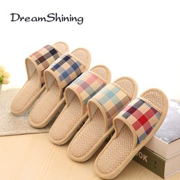 Wholesale Flax Medium - Wholesale- DreamShining Lovers Sandals Summer Small Broken Flower Flax Straw Mat Slippers Occupy Home Woman&Man Shoes
