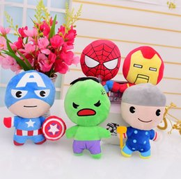 Wholesale Cute Spiderman Gifts - The Avengers Plush Doll 10cm 20cm Cute Spiderman Iron man Captain America Thor Super Hero children's toys Kids Gift SA1002