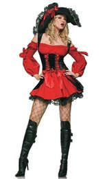 Wholesale Woman Adult Pirate Costume - Wholesale-Adult Women Sexy Red Black Vixen Pirate Wench Costume Halloween Pirates Cosplay Fancy Dress up Outfit M-XXL
