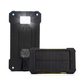 Wholesale Ipad Battery Bank - New Solar Charger Power Bank 10000mAh Universal Power Banks battery pack For iPhone6 iPad Samsung cellphones chargers