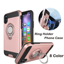 Wholesale Holder Suction - For iphopne8 5.8inch Ring Holder Phone Case for 6plus 7 7plus Magnetic Suction Bracket For Car Kickstand Phone Case