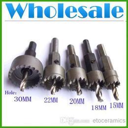 Wholesale Masonry Hole Saw - wholesale 5pcs sets Shaft Metal Twist Drill Hole Saw Cutter Tool Kit 15mm 18mm 20mm 22mm 30mm each one Lots100