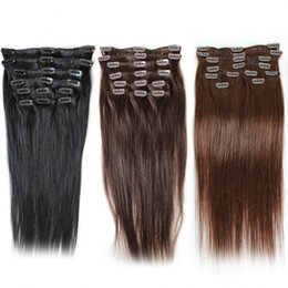 """Wholesale Cheap Clip Extensions - Cheap Brazilian Clip In Human Hair Extensions Staight #1#2#4 120g set Remy Human Hair 20"""" 24"""" Top Quality Remy Clip In Hair Extension"""