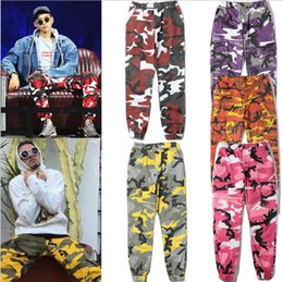 Wholesale Xl Latex Clothes - TOP streetwear plus size women clothing poppin dance hip hop sup mens joggers latex military camo tactical cargo pants camouflage