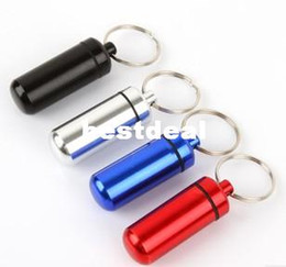 Wholesale Storage Box Seal - Small Emergency Pill Bottle Portable Keychain Box Sealed Waterproof Drug Storage Cassette Keychain Cartridge Aluminum Alloy Life-saving Tank