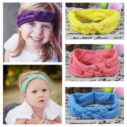 Wholesale Baby Hair Weave Bands - Hot Baby Hairband EuropeanBabies Hair Band Princess Girls Solid Cross Weave Knot Knits Manual Hairbands Children Kids Accessories E633