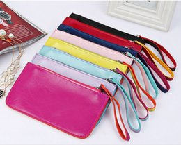 Wholesale Money Kits - 20*11.5cm PU Leather Moible Bag Cell Phone Pocket Money Dibs Change Wallet Women Lady New Designer Sundries Mess Kits Coin Purses