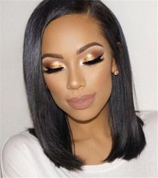 Wholesale Short Bobbed Hairstyles - Short Brazilian Hair Wigs For Black Women Natural Color Silk Straight Human Hair Wigs Bob Style Glueless Full Lace Wig With Baby Hair