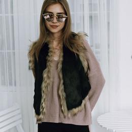 Wholesale Faux Fur Vest Jacket - Contrast Trim Faux Fur Gilet Outwear Women Black Brown Raccoon Fur Short Vest Spring Autumn Sleeveless Jacket Overcoat CJG0805