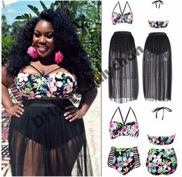 Wholesale Plus Size Bikini Skirt - Sexy Plus Size bikini Floral Print Bikini Long Skirt High Waisted Bikinis Retro Swimsuits Sexy Gauze Transparent Bikinis L-4XL D421 2pcs