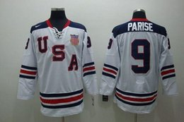 Wholesale Read Chart - 2010 Olympic Team USA #9 Zach Parise white ice hockey jerseys, please read size chart before order
