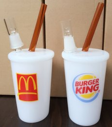 Wholesale Burger King Glasses - Super McDonald's Cup Rig Burger King Cup Rig In-n-out Jack In The Box Dabuccino Cup Rig Glass Bubbler Dabuccino Bubbler Glass Water Pipe