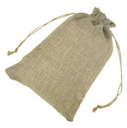 Wholesale Rustic Jewelry - Jute Gift Bags Jewelry Drawstring Pouch Rustic Natural Burlap with Hemp Cords for Wedding Party 13x18cm 15x20cm