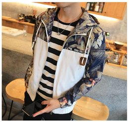 Wholesale Slim Fit Jacket Coat - New Mens Hooded Jacket Coat Size 4XL Floral Printed Zip Up Hoodies Jacket Men Slim Fit Mens Jackets Coats , PA571