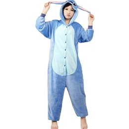 Wholesale Onesies Animals Adults - Animal Anime Lilo and Stitch costumes blue Stitch Onesie Adult Unisex Cosplay Costume Pajamas All In One Cartoon Stitch Jumpsuit Onesies