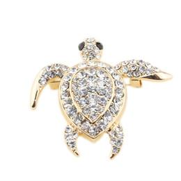 Wholesale Turtle Cute - 2016 New Arrival Cute Little Sea Turtle Brooch Tortoise Pins Brooches Christmas Gift Jewelry Enamel Crystal Balls Luxury Brooch