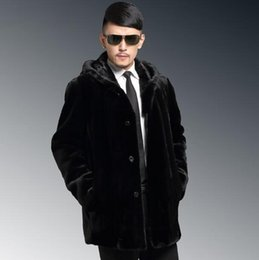 Wholesale Mens Black Leather Winter Overcoats - Fall-Black Hooded warm Fur collar Faux mink fur coat mens leather jacket men overcoat Villus autumn winter thermal outerwear S - 4XL